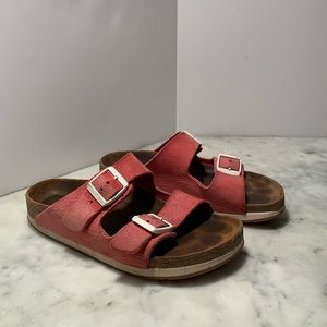 Red Birkenstock Arizona Sandals White Buckles